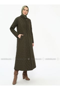 Green - Unlined - Crew neck - Coat - ECESUN(110322437)