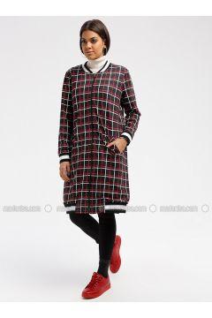 Black - Stripe - Fully Lined - Crew neck - Topcoat - MY MOOD(110339648)