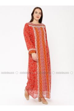 Coral - Multi - Crew neck - Fully Lined - Dresses - Le Mirage(110338939)
