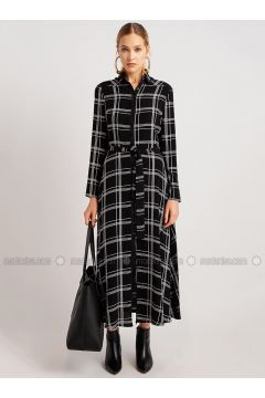 Black - White - Plaid - Point Collar - Dresses - NG Style(110341230)