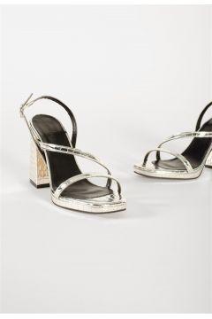 Shoes & More Kadın Gümüş Blok Topuklu Sandalet Oue - Gümüş Croco(124320808)