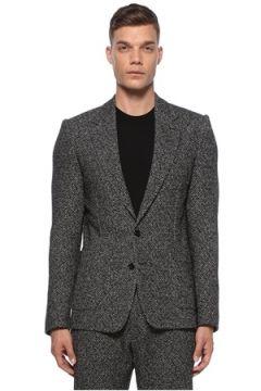 Dolce&Gabbana Erkek Siyah Kelebek Yaka Kazayağı Desenli Yün Ceket Gri 52 IT(121108460)