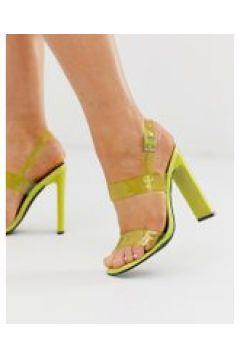 Truffle Collection - Neonfarbene Sandalen mit transparenten Riemen - Grün(89516407)