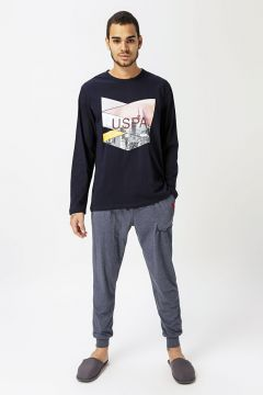 U.S. Polo Assn. Lacivert Desenli Pijama Takımı(126442540)