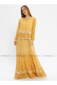 Yellow - Multi - Crew neck - Fully Lined - Dresses - Le Mirage(110338940)