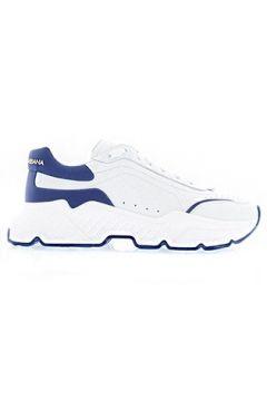 Dolce&Gabbana Erkek Daymaster Beyaz Mavi Logolu Deri Sneaker 39.5 EU(117772133)