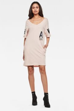 G-Star RAW Women Graphic Joosa V-Neck Dress Pink(118326904)
