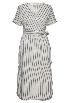 Short Sleeve Wrap-Front Dress In Linen-Cotton Kleid Knielang Creme GAP(116334557)