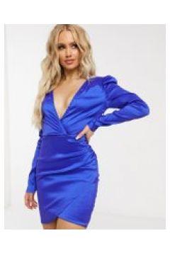 NaaNaa - Vestito a portafoglio a maniche lunghe in raso blu(122239580)