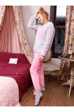 Gray - Crew neck - Multi - Cotton - Pyjama - Siyah inci(110331126)