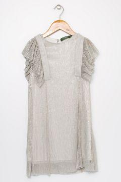 Limon Kız Çocuk Şifon Gümüş Elbise(121275896)