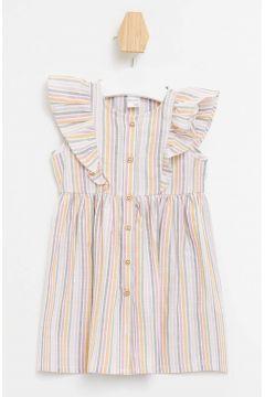 DeFacto Kız Bebek Çizgili Fırfır Detaylı Düğmeli Elbise(119061506)