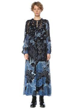 Red Valentino Kadın Mavi Çiçekli Fırfırlı Uzun Kol Maksi İpek Elbise 38 IT(127641538)