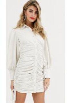 Skylar Rose - Vestitino camicia con gonna arricciata-Bianco(120331824)