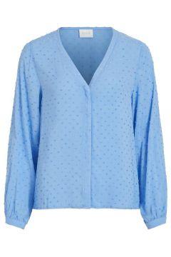 VILA Loose Fit V-hals Overhemd Dames Blauw(111096985)