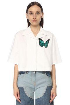 Palm Angels Kadın Beyaz Kelebek Detaylı Yarım Kol Gömlek Mavi 40 IT(117384946)