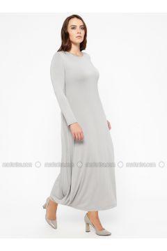 Gray - Crew neck - Unlined - Plus Size Dress - Efraze(110329606)