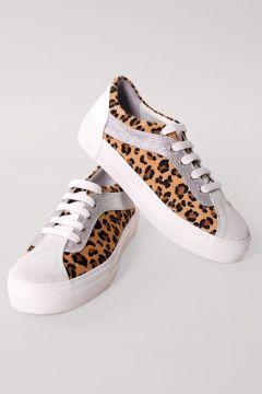Shoes & More Kadın Beyaz Leopar Sneaker(124320754)