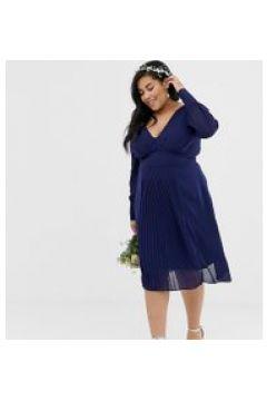 TFNC Plus - Vestito da damigella midi a maniche lunghe con gonna a pieghe blu navy(120332820)