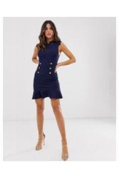 Unique21 - Kleid mit Rüschensaum und Knopfdetail - Schwarz(88967070)