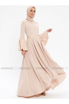Powder - Fully Lined - Crew neck - Muslim Evening Dress - Pia(110335745)