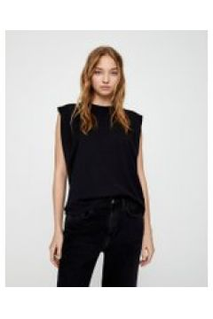 Pull&Bear - T-shirt nera con spalle imbottite-Nero(120938341)