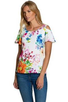 T-shirt Bleu D\'azur Tshirt chic fleuri manche volantée courte COCOA(115599664)