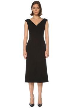 Dolce&Gabbana Kadın Siyah V Yaka Kolsuz Midi Yün Elbise 42 IT(121208213)