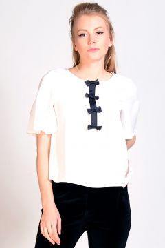 Girls On Film Siyah Beyaz Bluz(113947054)