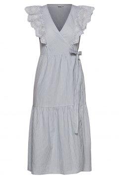 Flutter Sleeve Midi Wrap Dress Kleid Knielang Blau GAP(114164388)