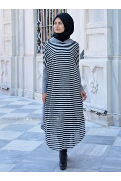 Gray - Stripe - Wool Blend - Acrylic - Tunic - Henna Elısa(110323018)