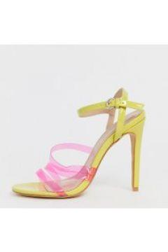Co Wren - Weit geschnittene Sandalen in Neonfarbe mit transparentem Absatz - Beige(86708942)