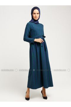 Green - Navy Blue - Multi - Crew neck - Unlined - Dresses - Almera(110336513)