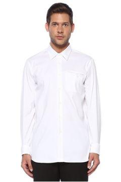 Prada Erkek Beyaz Polo Yaka Cepli Gömlek 40 IT(119785447)