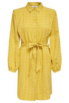 ONLY Detailreiches Kleid Mit Langen Ärmeln Damen Gelb(125166880)