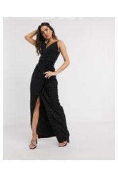 Girl In Mind - Vestito lungo in velluto a portafoglio nero(121569551)