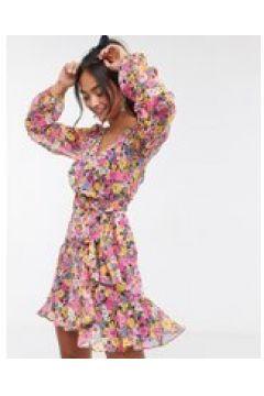 Forever New - Vestito a portafoglio corto a maniche lunghe con stampa a fiori mista fucsia-Multicolore(120328979)