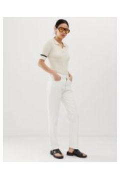 Tomorrow - Jeans dritti vita alta in cotone biologico con passante-Bianco(112835299)