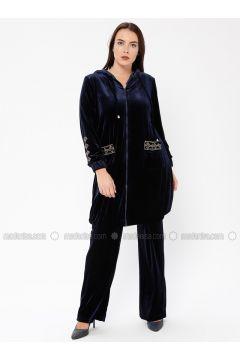 Navy Blue - Unlined - Plus Size Suit - Ginezza(110336820)