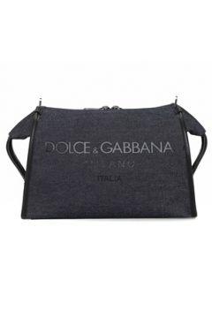 Dolce&Gabbana Erkek Lacivert Logo Baskılı Denim Çanta Siyah EU(108010542)