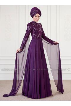 Purple - Fully Lined - Crew neck - Muslim Evening Dress - An-Nahar(110314624)