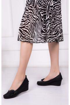 Deripabuc Hakiki Deri SİYAH Kadın Dolgu Topuklu Deri Ayakkabı(124966402)