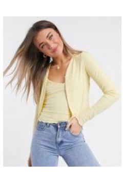 New Look - Twin set con cardigan e canottiera giallo chiaro(120363041)