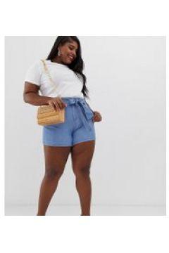 Vero Moda Curve - Chambray-Shorts mit Bindegürtel - Blau(94099168)