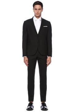 Neil Barrett Erkek Siyah Kelebek Yaka Takım Elbise 46 IT(121108202)