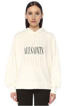 Allsaints Kadın Optic Beyaz Kapüşonlu Baskılı Sweatshirt L EU(117384856)