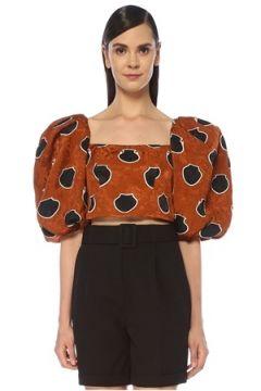 Johanna Ortiz Kadın Taba Kare Yaka Balın Kollu Crop Bluz Turuncu 6 US(118739770)