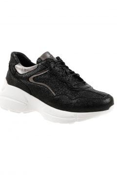 Dr.Flexer 183202 Hakiki Deri Kadın Comfort Ayakkabı Siyah Simli(109032173)