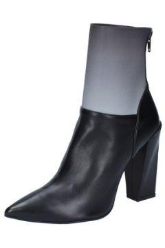 Bottines Gianni Marra bottines noir cuir gris textile BY766(115401591)