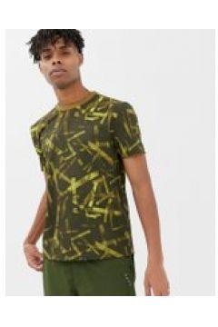 ASOS 4505 - Gewebtes T-Shirt mit praktischen Taschen im Military-Muster - Grün(90472559)